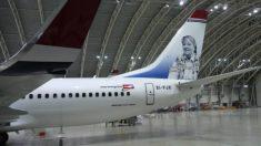 La cola del avión de Norwegian se ocupa con una foto de Gloria Fuertes. NORWEGIAN AIRLINES