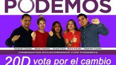 Cartel de «Candidatos ecuatorianos con Podemos» en las elecciones del 20D.
