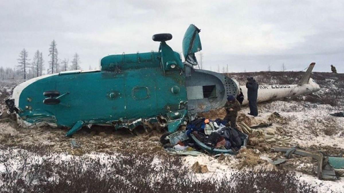 Un helicóptero accidentado en Siberia (Foto: AFP)