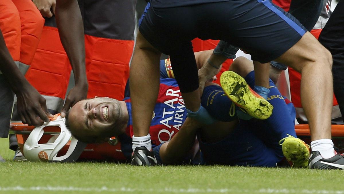 Iniesta se lesionó en Mestalla.