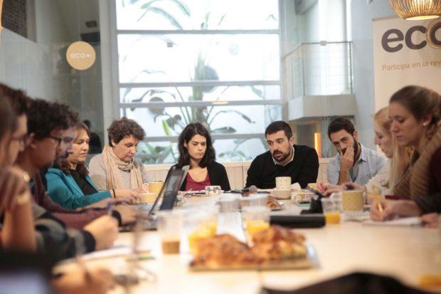 Desayuno de Juntas Podemos en Lavapiés. (Foto: JP)