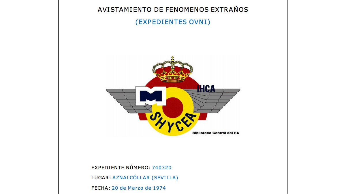 Portada de uno de los informes desclasificados por el Ejército del Aire.