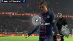Verratti se retira enfadado del PSG-Marsella.