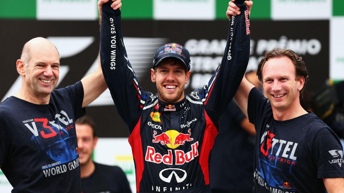 El trío formado por Vettel, Horner y Newey no se juntará de nuevo en Red Bull. (Getty)