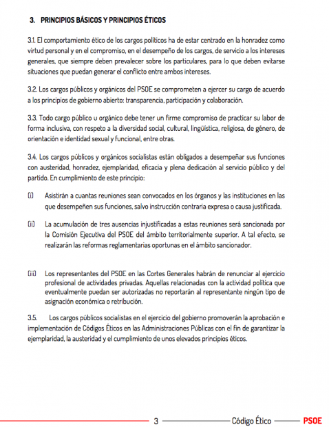 Captura de una página del Código Ético del PSOE