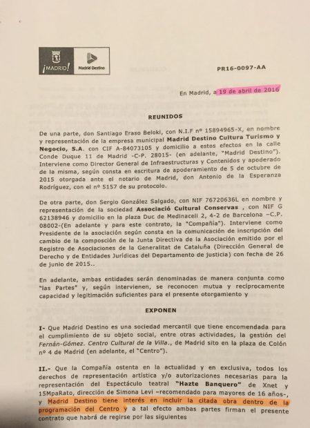Documentación de Madrid Destino que reconoce la 'politización' cultural. (Clic para ampliar)