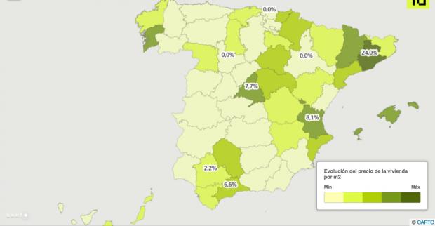 Variación del precio de la vivienda desde mínimos por capitales de provincias (Fuente: idealista.com)