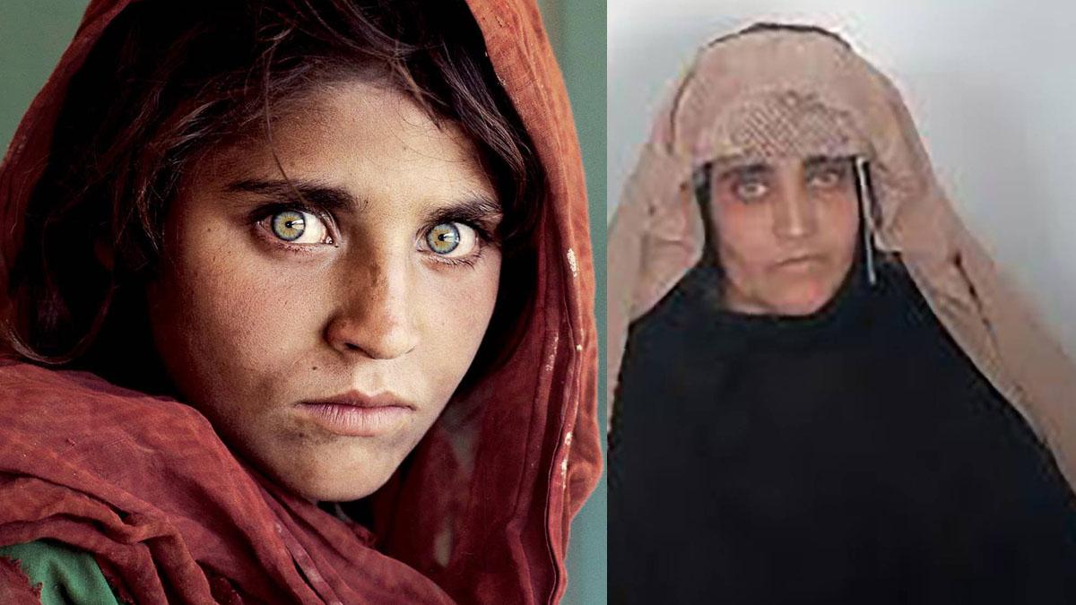 La 'niña afgana' en la foto famosa de National Geographic y tras ser detenida por las autoridades paquistaníes.