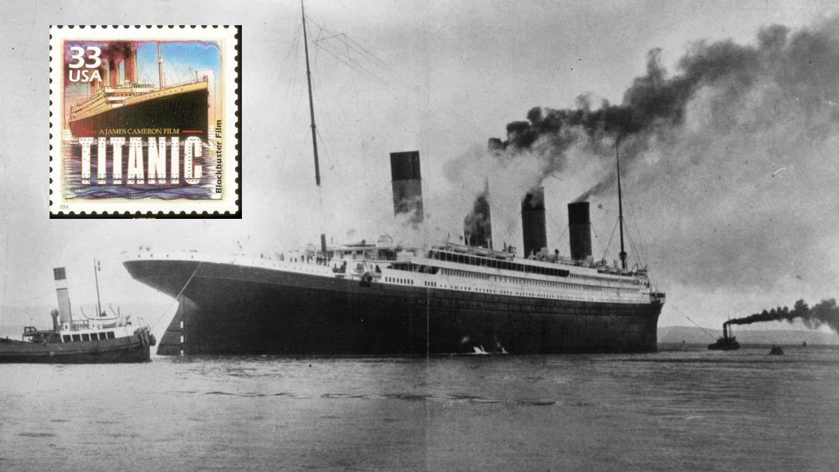 El Titanic original y un sello conmemorativo de la famosa película dirigida por James Cameron que ganó 11 premios oscar. GETTYIMAGES