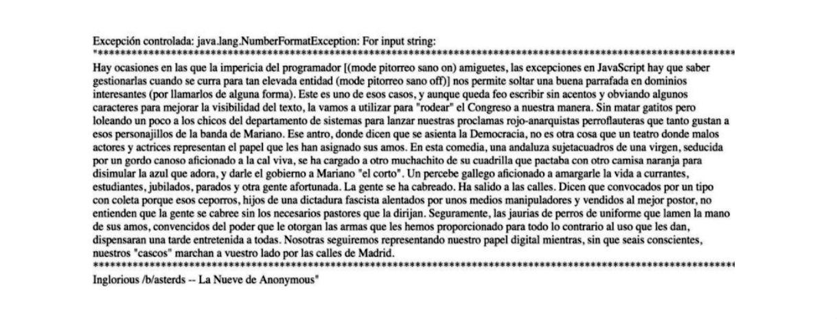 Texto colocado por los hackers en la web del Congreso.