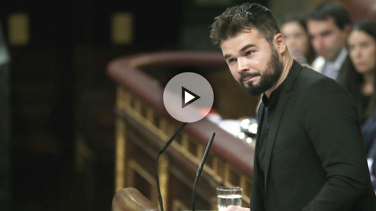 El portavoz adjunto de ERC en el Congreso, Gabriel Rufián durante su intervención en el debate de investidura en el Congreso hoy en Madrid (Foto: Efe)