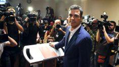 Pedro Sánchez, en la renuncia a su escaño en el Congreso.