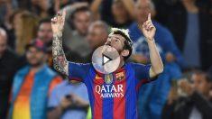 Leo Messi celebra uno de sus últimos goles con el Barcelona. (Getty)