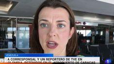 Nuria Ramos, periodista de RTVE retenida en el aeropuerto de Caracas.
