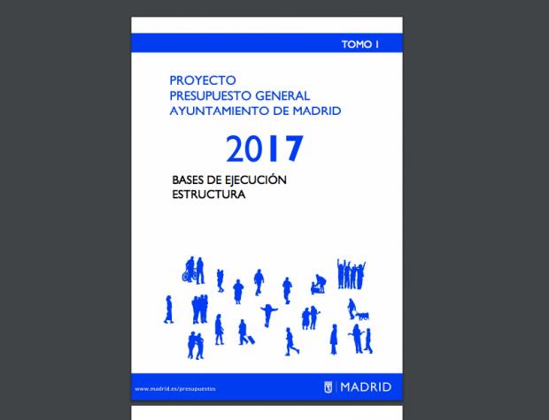 Portada de los presupuestos de Sánchez Mato para Madrid. (Clic para ampliar)