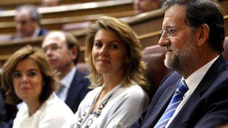 Soraya Sáenz de Santamaría, Dolores de Cospedal y Mariano Rajoy, en el Congreso de los Diputados.