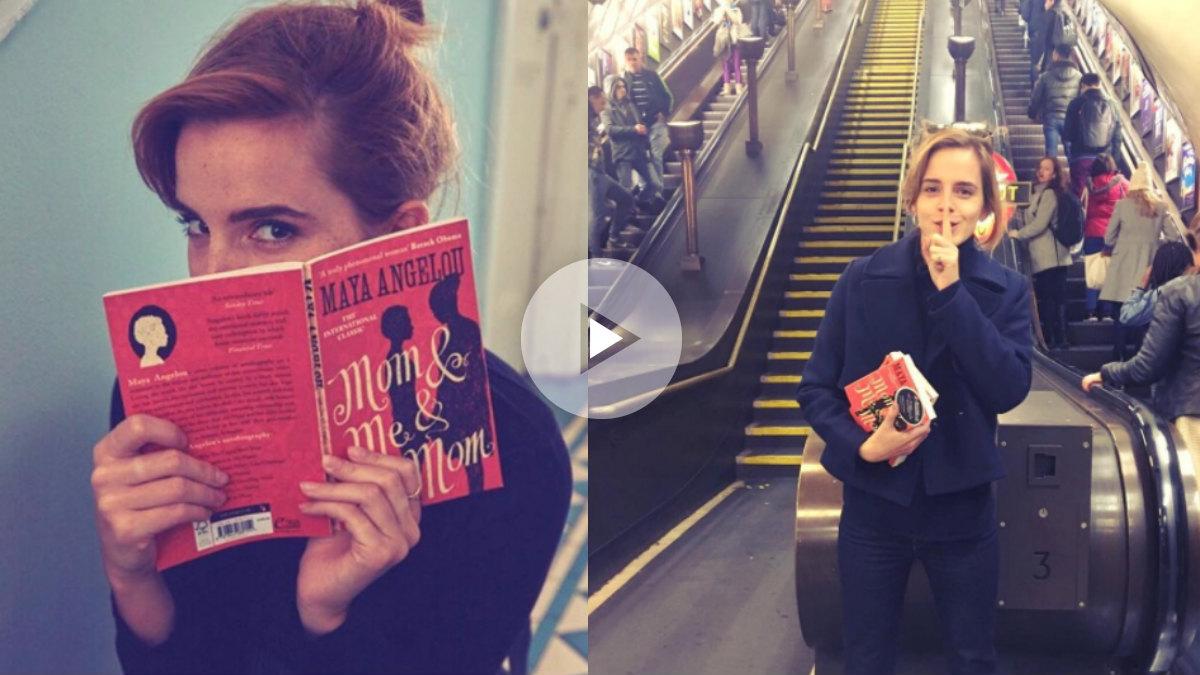 Emma Watson difundiendo la campaña 'Book On The Underground' en su cuenta de instagram. @EMMAWATSON