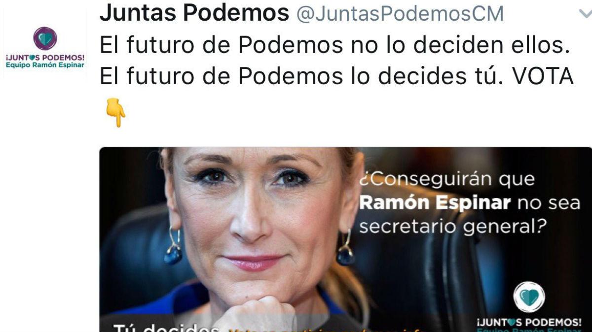 El mensaje difundido en Twitter por la candidatura de Ramón Espinar.