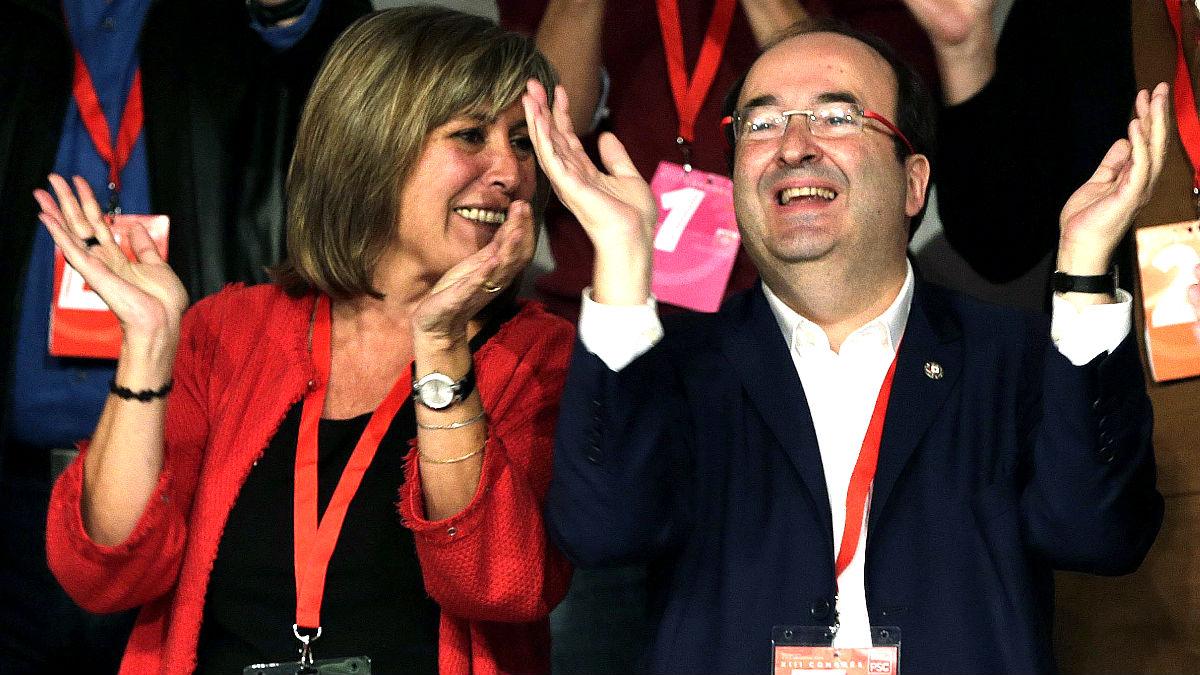 Núria Marín (PSC) junto a Miquel Iceta. (Foto: Efe)