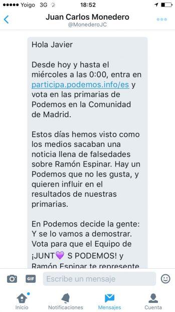 Mensaje de Juan Carlos Monedero en el que pide el voto para Ramón Espinar (1 de 2)