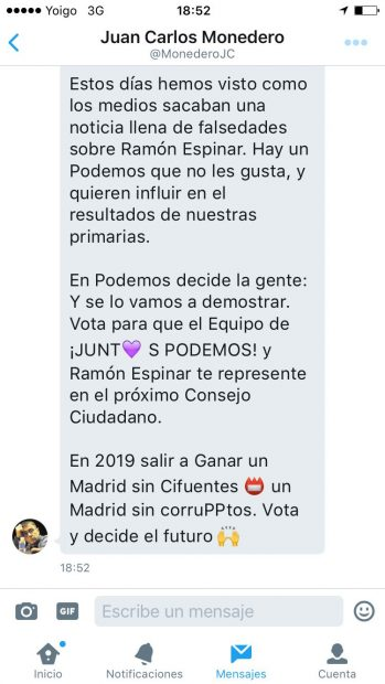 Mensaje de Juan Carlos Monedero en el que pide el voto para Ramón Espinar (2 de 2)