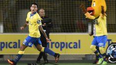 Araujo celebra un gol con Las Palmas. (AFP)