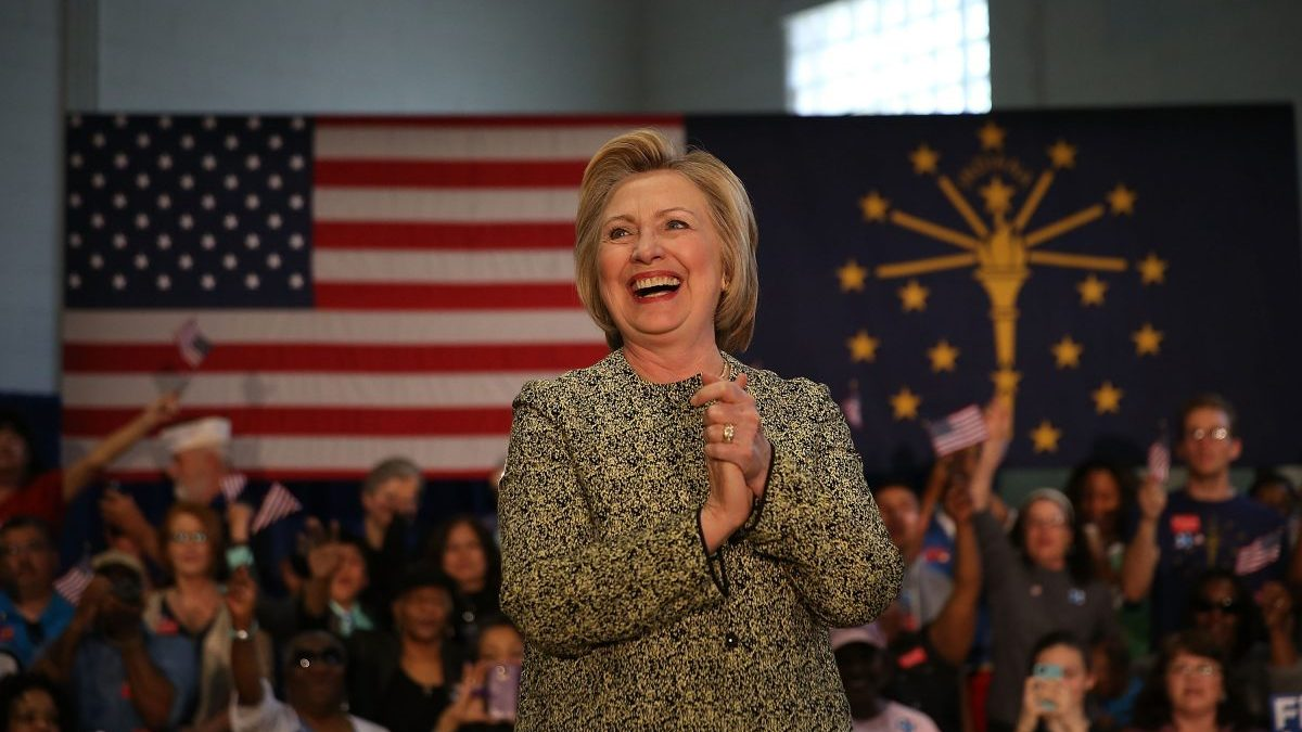 Hillary Clinton en un momento de su campaña electoral en Indiana (Fuente: Getty)