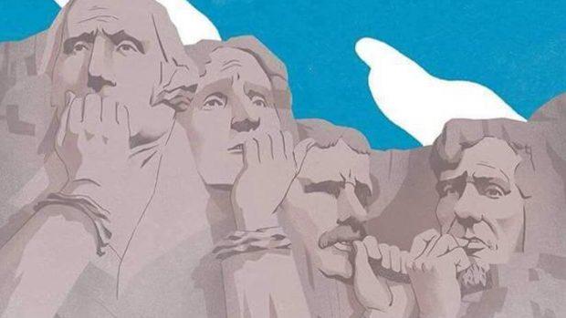 Nervios en el monte Rushmore en una de las imágenes más compartidas en las redes sociales.