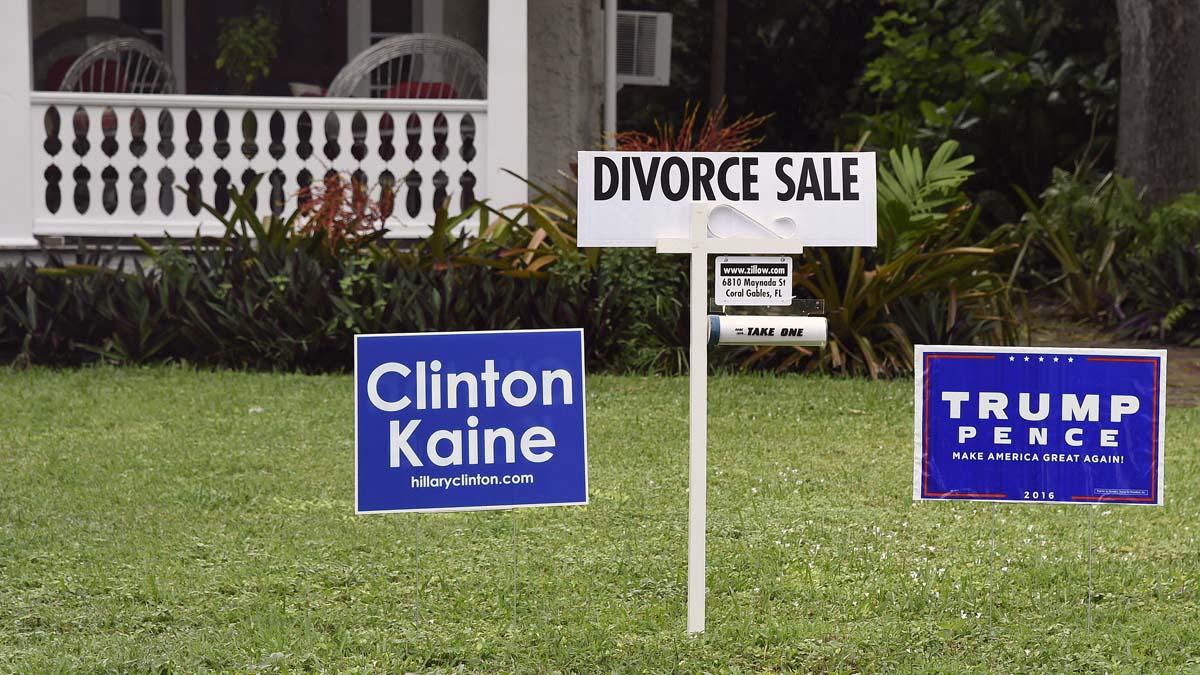 Una simpática imagen que muestra la división en EEUU entre partidarios de Clinton y Trump. (Foto: AFP)