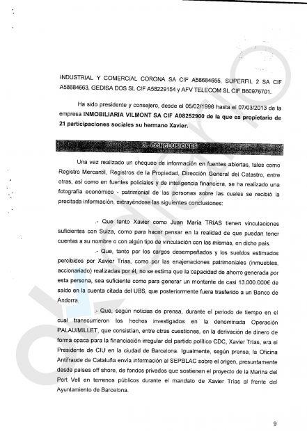 Informe de la UDEF sobre el patrimonio de Xavier Trías.
