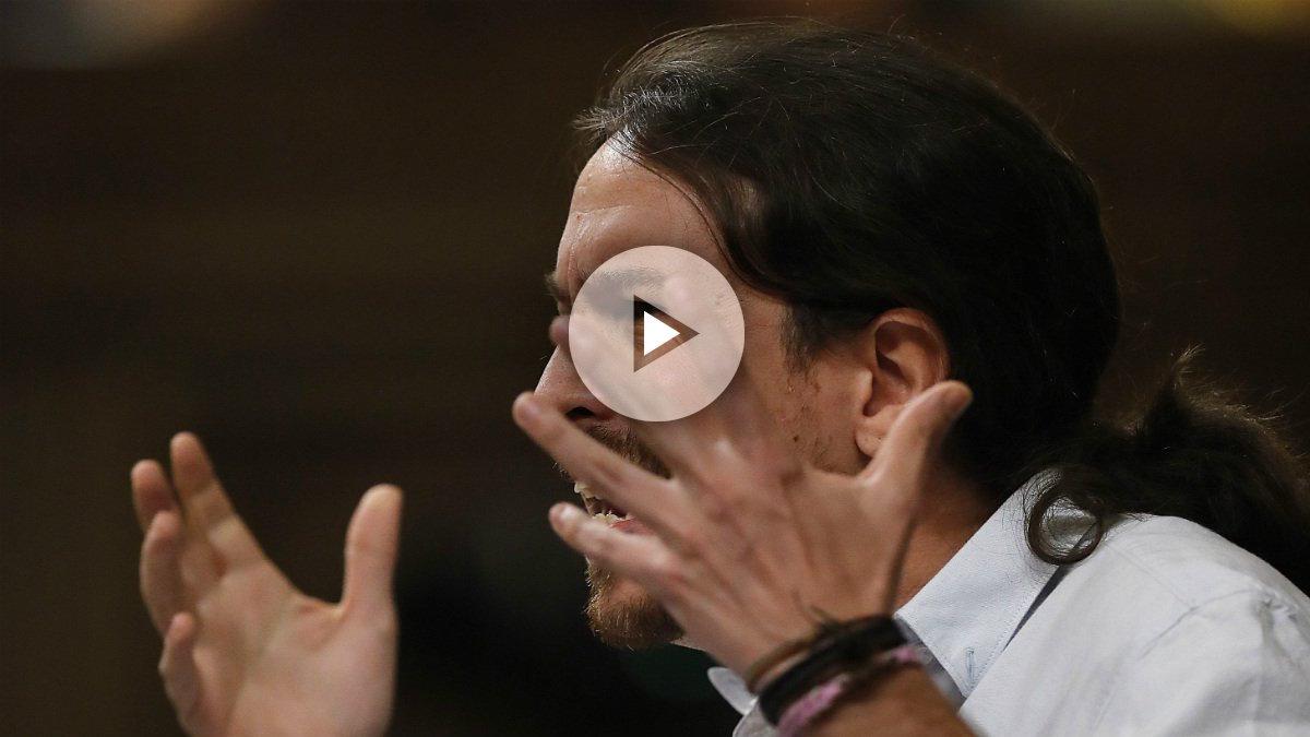 Pablo Iglesias durante su intervención en el debate de investidura de Mariano Rajoy (EFE).
