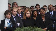 Los empleados de la Casa Blanca durante la visita de Trump.