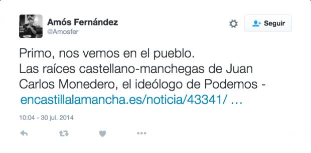 Mensajes dirigidos por Amós Fernández a su primo, Juan Carlos Monedero, en Twitter.