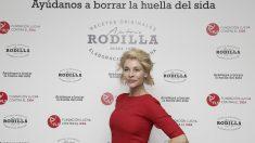 La actriz Belén Rueda durante el encuentro sobre el SIDA en la tienda Rodilla de la madrileña Puerta del Sol.