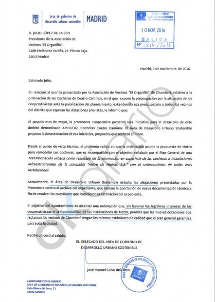 Carta del concejal a una asociación de vecinos. (Clic para ampliar)