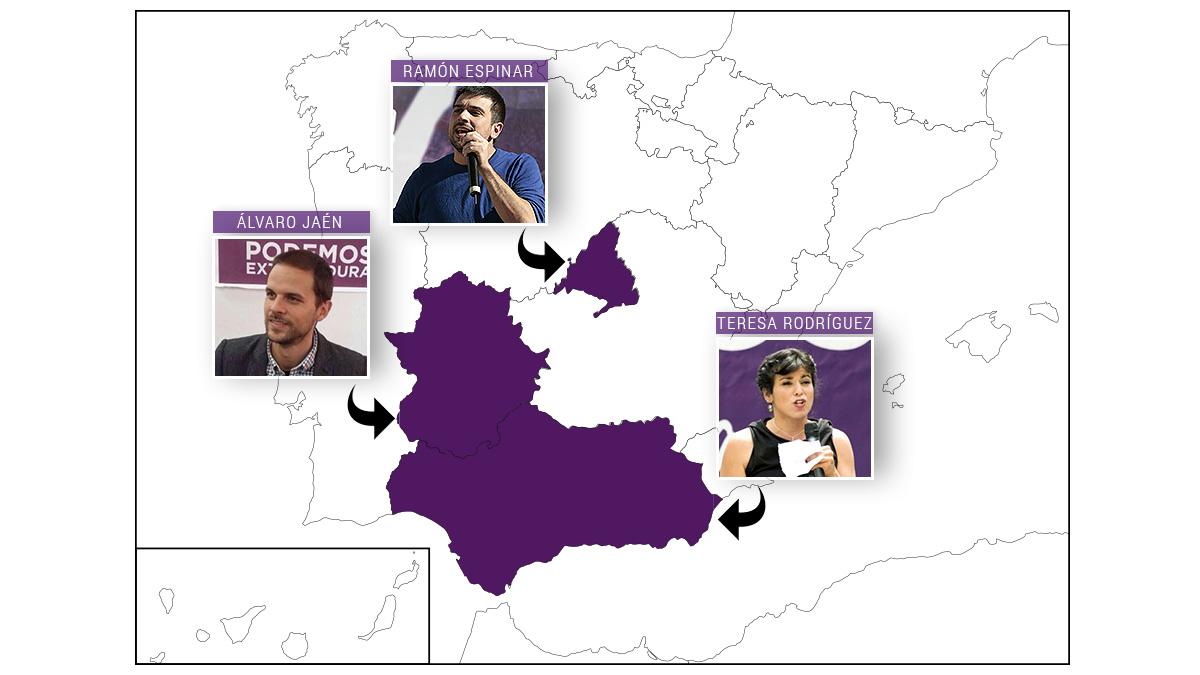 Mapa de las nuevas secretarías generales autonómicas de Podemos