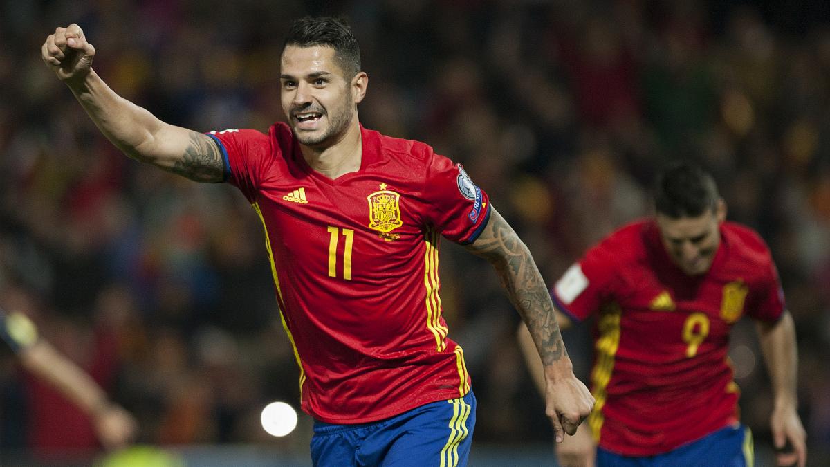 Vitolo celebra su gol a Macedonia. (AFP)