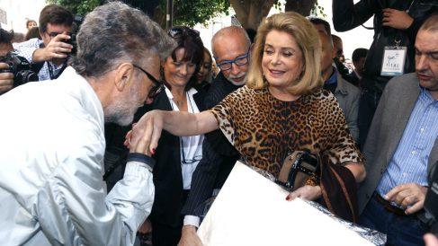Catherine Deneuve este domingo en Almería (Foto: Efe).