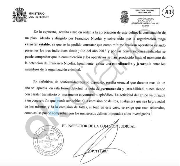 Informe de la Comisión Judicial de Policía sobre Francisco Nicolás.