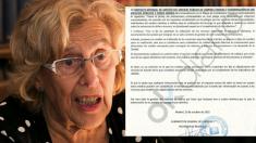 La alcaldesa Carmena este martes con el escrito del Ayuntamiento. (Foto: Madrid)
