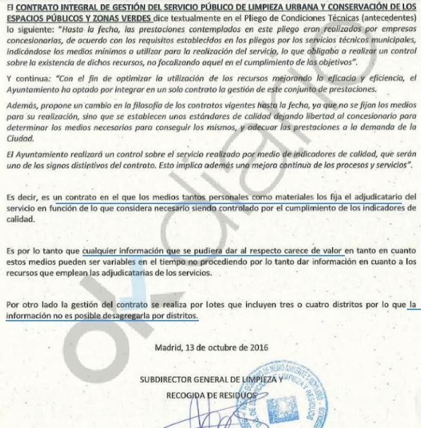 Carta de un alto cargo de Carmena a una consulta sobre el nº de barrenderos en Madrid. (Clic para ampliar)
