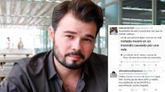 Gabriel Rufián, diputado por ERC, junto al tuit que ha originado el baile de zascas.
