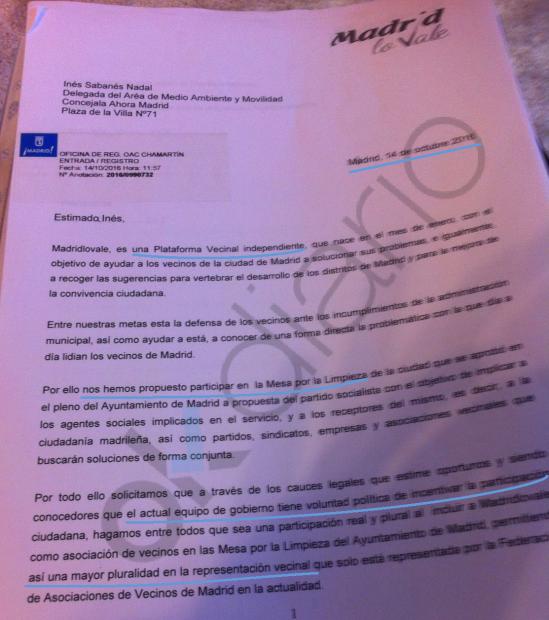 Carta de Madrid Lo Vale a Sabanés del 14 de octubre. (Clic para ampliar)