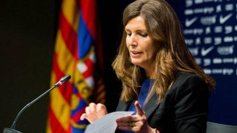Susana Monje, explicando que Neymar costó 19,3 millones de euros al Barça. (AFP)