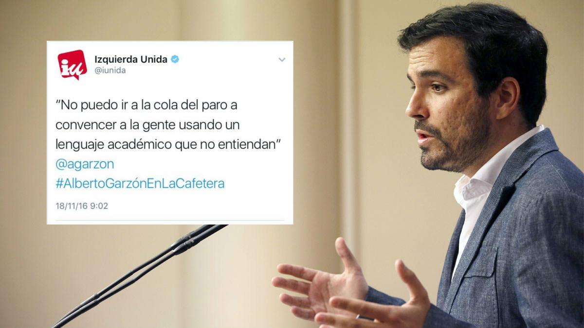 Alberto Garzón y el tuit que han modificado en IU para maquillar el mensaje de su dirigente.