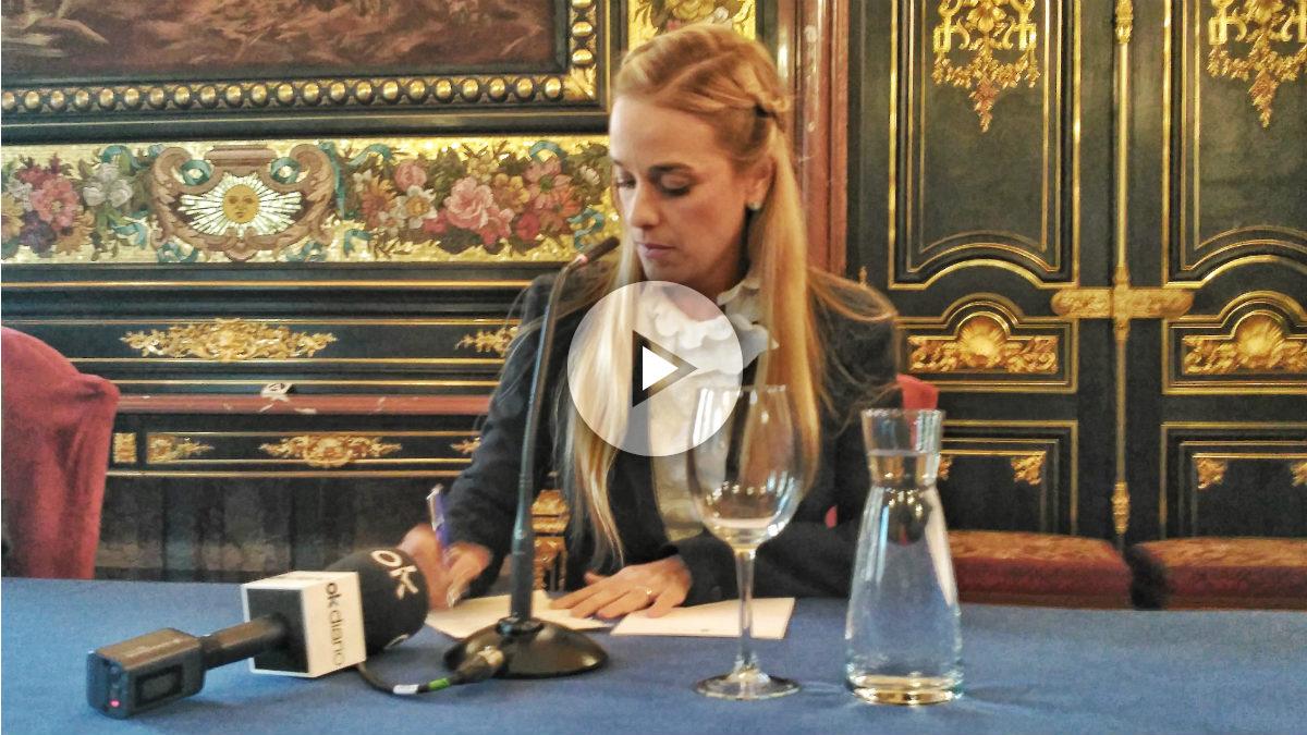 Lilian Tintori, en la Casa de América de Madrid. (Forto: ADP)