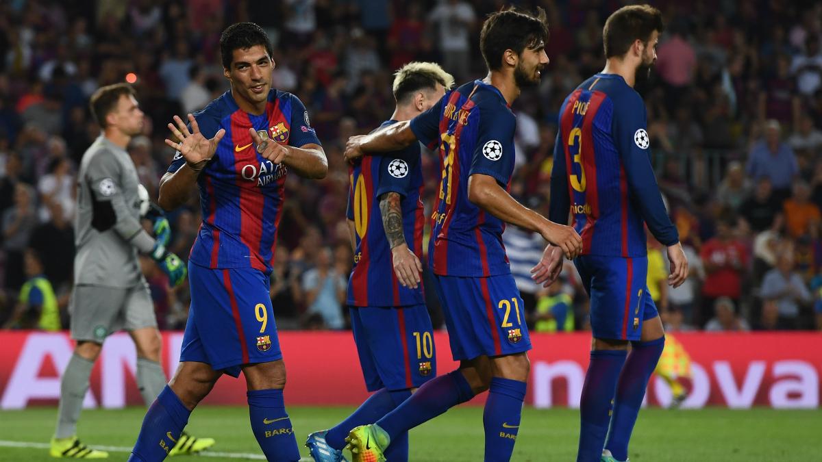 Los jugadores del Barcelona celebran un gol frente al Celtic. (Getty)