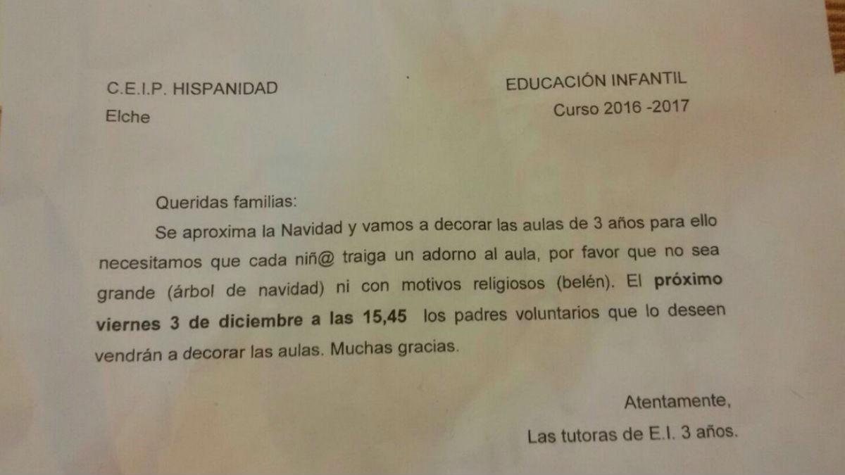 Carta recibida por los padres de los alumnos de 3 años del CEIP Hispanidad de Elche (Foto: Twitter)
