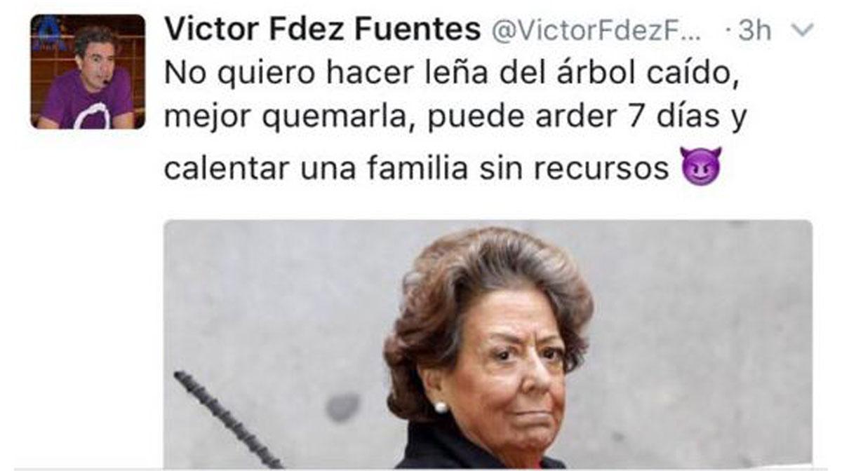 Tuit del podemita Víctor Fernández Fuentes tras el fallecimiento de Rita Barberá.