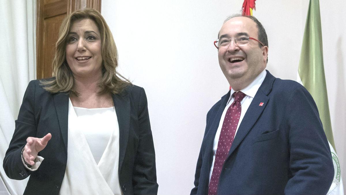 La presidenta andaluza, Susana Díaz, y el líder del PSC, Miquel Iceta (Foto: Efe)